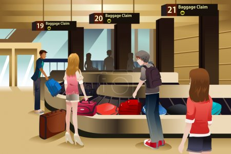 Illustration for A vector illustration of travelers waiting for their baggage at the baggage claim area - Royalty Free Image