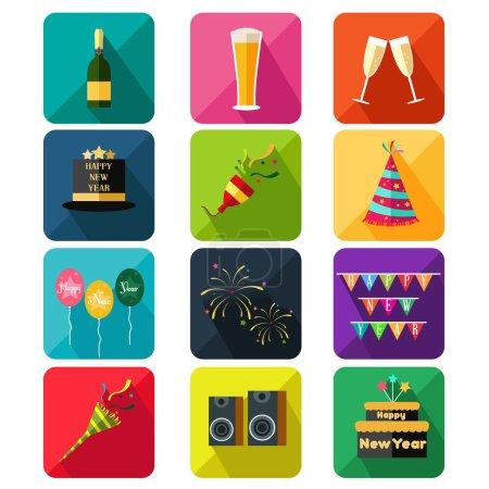 Illustration pour Une illustration vectorielle des ensembles d'icônes du Nouvel An - image libre de droit