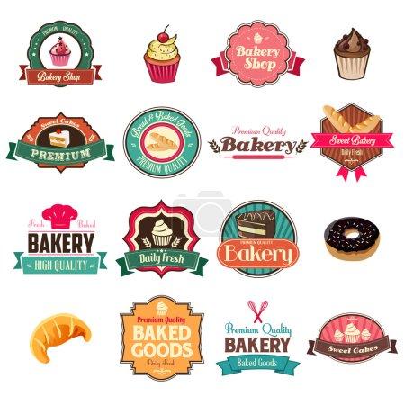 Illustration pour Une illustration vectorielle de la collection vintage de boulangerie d'icônes et de jeux de tags - image libre de droit