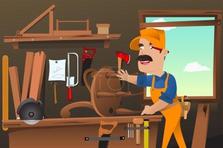 Illustration pour Illustration vectorielle d'un charpentier travaillant à la fabrication d'une chaise à l'atelier - image libre de droit
