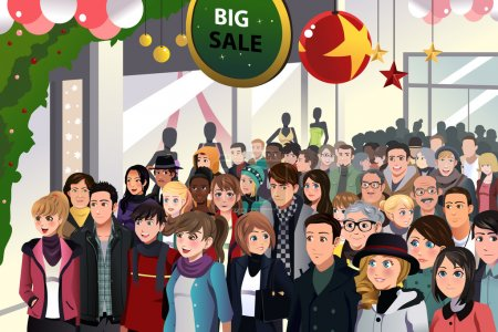 Illustration for A vector illustration of Holiday shopping sale scene - Royalty Free Image