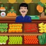 A vector illustration of fruit seller in a farmer ...