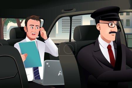 Illustration pour Illustration vectorielle d'un homme d'affaires parlant au téléphone assis dans une voiture conduite par un chauffeur - image libre de droit