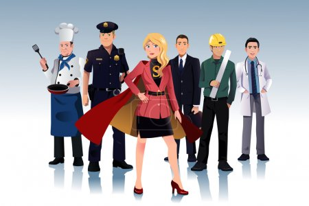 Illustration for A vector illustration of super businesswoman standing in front of men - Royalty Free Image