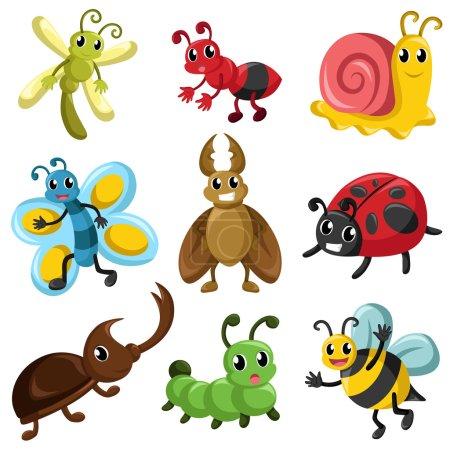 Illustration pour A vector illustration of bug icon sets - image libre de droit
