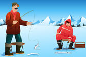 A vector illustration of happy men ice fishing on the lake