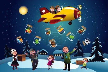 Illustration pour Illustration vectorielle d'enfants heureux faisant un don pendant Noël - image libre de droit
