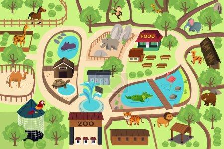 Illustration pour Illustration vectorielle de la carte d'un parc zoologique - image libre de droit