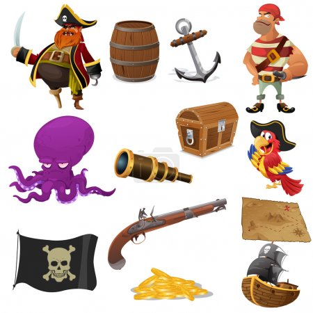 A vector illustration of pirate icon sets...