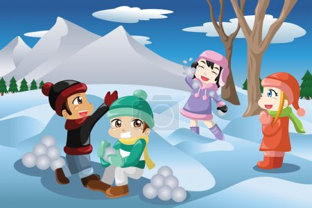 Kids playing snowballs