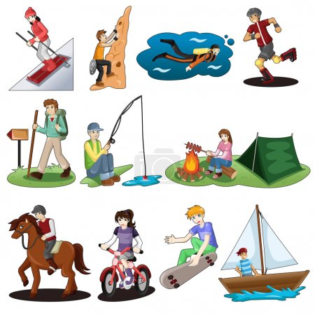 Illustration for A vector illustration of active people doing outdoor activities - Royalty Free Image