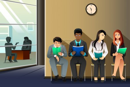 Illustration for A vector illustration of business people waiting for their turn to be interviewed - Royalty Free Image