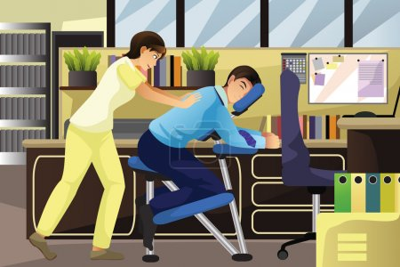 Illustration for A vector illustration of massage therapist working on a client using a massage chair in an office - Royalty Free Image