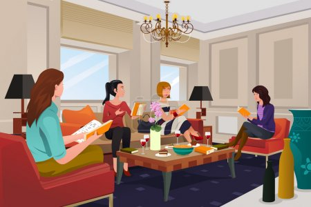 Illustration for A vector illustration of  group of women in a book club meeting - Royalty Free Image