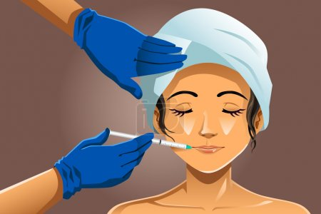 Illustration for A vector illustration of beautiful woman receiving beauty treatment in a clinic - Royalty Free Image
