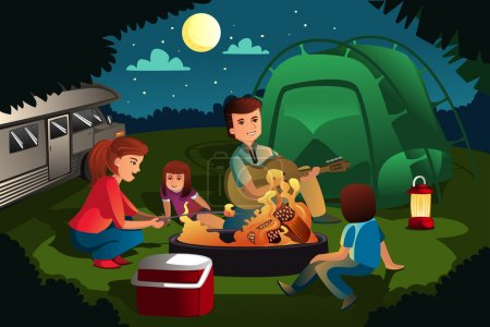 Illustration for A vector illustration of family camping in the forest - Royalty Free Image