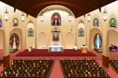 A vector illustration of pastor giving a sermon at a church