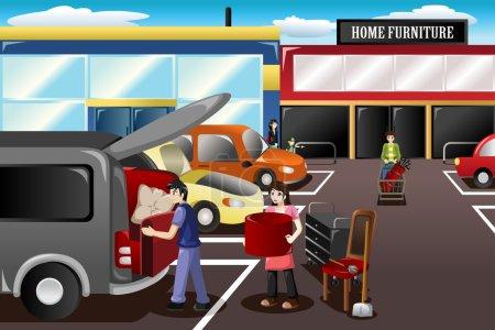 Illustration pour Illustration vectorielle d'un couple chargeant de nouveaux meubles du magasin - image libre de droit