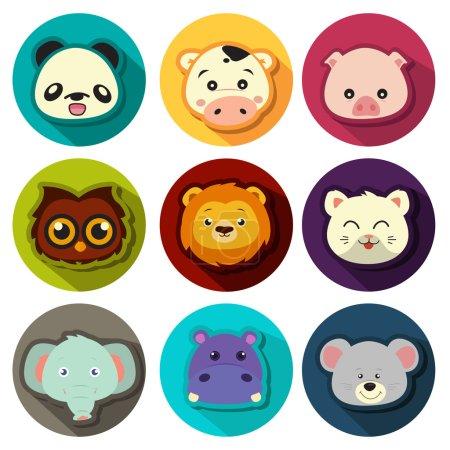 Illustration pour Une illustration vectorielle des ensembles d'icône d'animal - image libre de droit