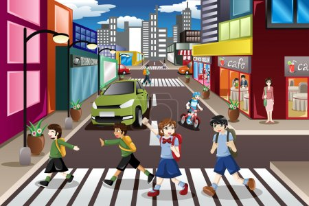 Illustration for A vector illustration of kids using the pedestrian lane while crossing the street - Royalty Free Image