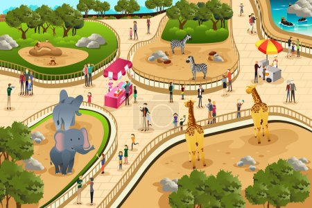 Illustration for A vector illustration of scene in a zoo - Royalty Free Image