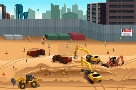 Illustration pour Illustration vectorielle de la scène sur un chantier - image libre de droit