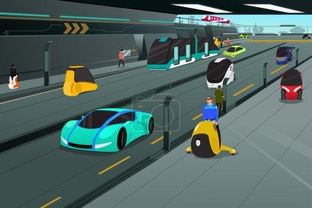 Illustration for A vector illustration of futuristic city transportation - Royalty Free Image