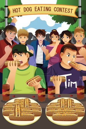 Illustration for Illustration of people eating hot dogs in hot dog eating contest - Royalty Free Image