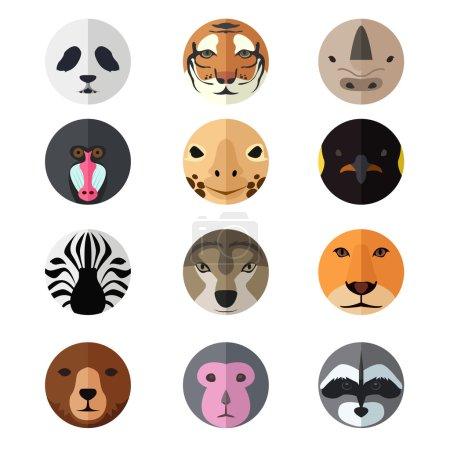Illustration pour Une illustration de vecteur des ensembles d'icône de tête d'animal - image libre de droit