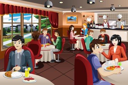 Illustration pour Illustration vectorielle de gens d'affaires déjeunant ensemble - image libre de droit