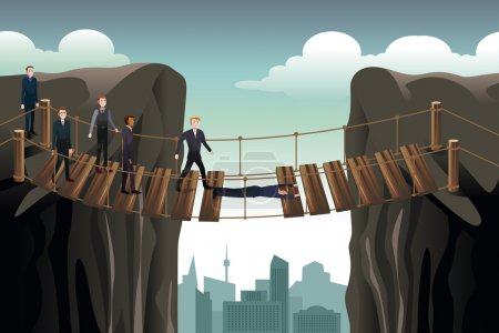 Businessman Helping His Colleagues Crossing  the Bridge For Team