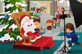 A vector illustration of kids lining up in the mall waiting to take pictures with Santa Claus