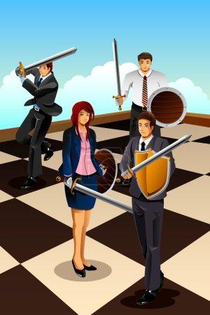 Illustration pour Illustration vectorielle des hommes d'affaires combattant comme chevalier pour le concept de stratégie - image libre de droit