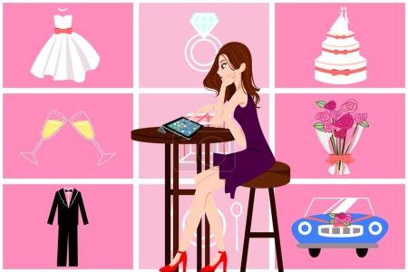 Illustration pour Une illustration vectorielle de belle femme à la planification de son mariage en ligne - image libre de droit