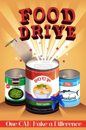 Illustration for A vector illustration of food drive poster design - Royalty Free Image