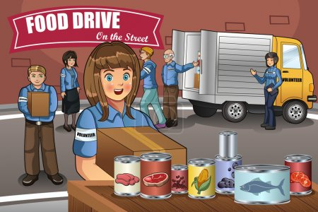 Illustration for A vector illustration of Volunteers packing up donation boxes - Royalty Free Image