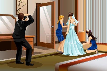 Ilustración de Una ilustración vectorial de un cuadro de toma de fotógrafo de una novia con su vestido de novia - Imagen libre de derechos