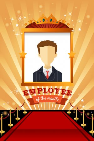 Illustration for A vector illustration of employee of the month poster frame design - Royalty Free Image