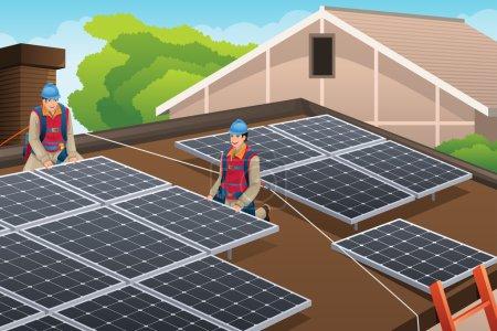 Illustration pour Illustration vectorielle de travailleurs installant des panneaux solaires sur le toit - image libre de droit