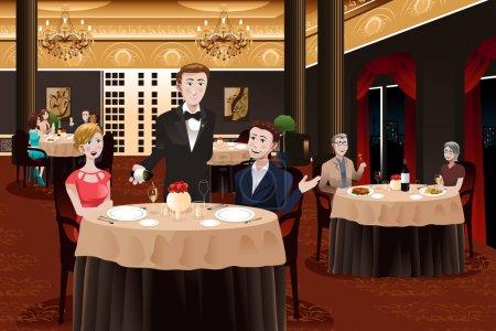 Illustration pour Illustration vectorielle d'un serveur dans un restaurant desservant des clients - image libre de droit