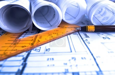 Architecture rolls architectural plans project architect blueprints real estate concept
