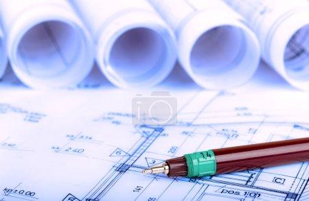 construction industry Architecture rolls architectural plans project architect blueprints real estate concept