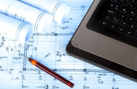 construction industry Architecture rolls architectural plans project architect blueprints real estate concept