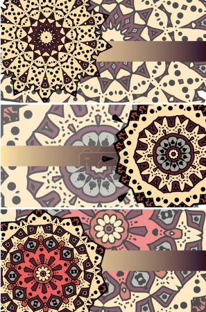 Illustration for Drawing of set of three etnic cards with mandalas - Royalty Free Image