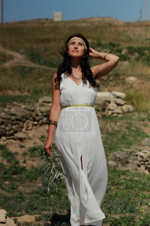Greek woman in ancient town