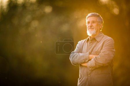 Photo pour Portrait d'un homme âgé à l'extérieur, marchant dans un parc (DOF peu profond ; image couleur tonique ) - image libre de droit