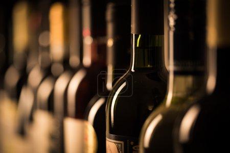 Row bottles of wine
