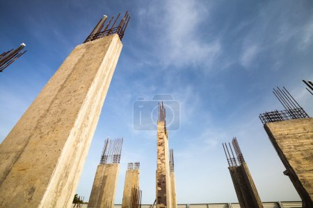 Construction site - Pillars of a building  in the making
