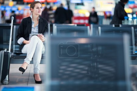 Female passenger at the airport