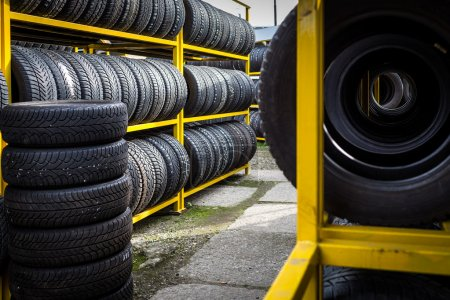 Photo for Tires for sale at a tire store - Royalty Free Image